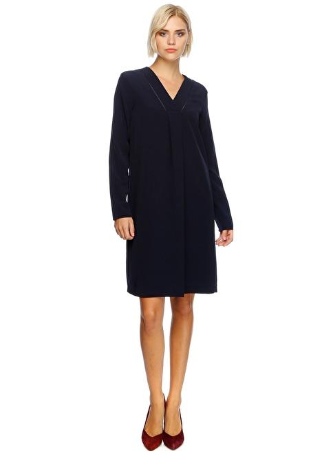 Fabrika Uzun Kollu V Yaka Elbise Lacivert